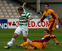 Motherwell v Celtic, Scottish Premier League, Fir Park, Motherwell.  Pic ian Stewart, Saturday 30th July 2005<br /> Scott Leitch and Petroiv collide and Leitch was stretchered off