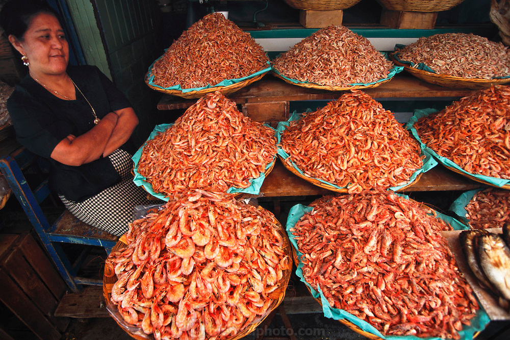 Woman selling shrimp at the Mercado de Abastos Oaxaca, Mexico.