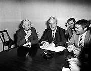 Harold Wilson MP, Leader of the British Labour Party, pays a courtesy call to his Irish counterpart, Brendan Corish, leader of the Irish Labour Party. Mr Corish was accompanied by several of his party colleagues. Picture shows (l-r) Harold Wilson, Brendan Corish, Michael O'Leary TD (in background) and Dr David Thornley TD. <br /> <br /> 02/12/1971