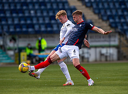 20MAR21 Montrose Russell McLean and Falkirk's Ben Hall. half time : Falkirk 1 v 0 Montrose, Scottish Football League Division One game played 20/3/2021 at The Falkirk Stadium.