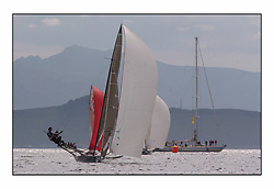 The 2004 Skiff Nationals at Largs held by the SSI.<br /> <br /> Andy Richards, Andy Fairlie and Dave Richards onboard Radii with Drum.<br /> <br /> Marc Turner / PFM Pictures
