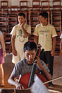 During the rehearsal of Concepcion's youth orchestra.