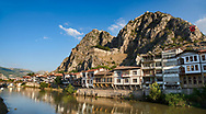 Ottoman villas of Amasya along the banks of the river Yeşilırmak, below the Pontic Royal rock tombs and mountain top ancient citadel, Turkey .<br /> <br /> If you prefer to buy from our ALAMY PHOTO LIBRARY  Collection visit : https://www.alamy.com/portfolio/paul-williams-funkystock/amasya-turkey.html<br /> <br /> Visit our TURKEY PHOTO COLLECTIONS for more photos to download or buy as wall art prints https://funkystock.photoshelter.com/gallery-collection/3f-Pictures-of-Turkey-Turkey-Photos-Images-Fotos/C0000U.hJWkZxAbg