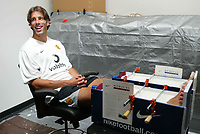 Photo Aidan Ellis.<br />Nike Campus in Portland Oregon USA. (24/07/03).<br />Ruud Van Nistelrooy enjoys a smile whilst having a cast of his Lower leg made for specially fitted shin pads at the Nike campus.