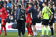 Molla Wague of Leicester City is seen by the Leicester City medical team for an injury.  The Emirates FA Cup 5th round match, Millwall v Leicester City at The Den in London on Saturday 18th February 2017.<br /> pic by John Patrick Fletcher, Andrew Orchard sports photography.