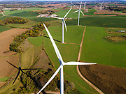 A wind turbine (windmill) generates electricity on a windy day in Springfield Township, Dane County, Wisconsin, USA.