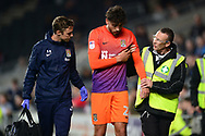 Matt Crooks of Northampton is helped off the pitch after getting an injury .EFL Skybet football league one match, MK Dons v Northampton Town at the Stadium MK in Milton Keynes on Tuesday 26th September 2017.<br /> pic by Bradley Collyer, Andrew Orchard sports photography.