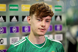 File photo dated 08-09-2021 of Northern Ireland''s Conor Bradley in a post match interview during the 2022 FIFA World Cup Qualifying match at Windsor Park, Belfast. Conor Bradley's display in his first Northern Ireland start offered Ian Baraclough some positives amid the disappointment of a dismal second half in their 2-1 World Cup qualifying defeat to Bulgaria. Issue date: Wednesday October 13, 2021.