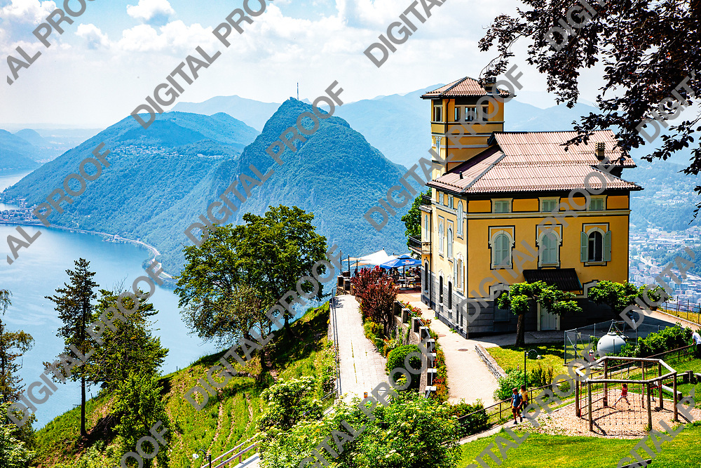 Mont Bre, Switzerland - June 08, 2019 View of Resturant Vetta over Lake Lugano