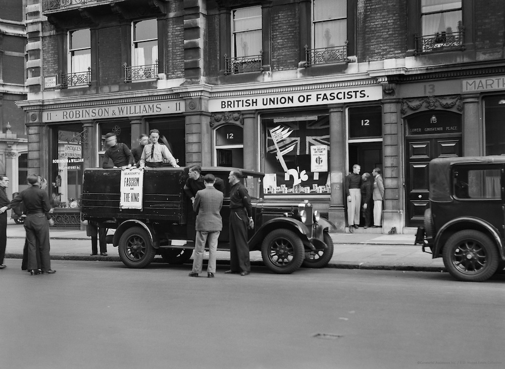 Speakers and Stewards Leaving for a Meeting by the Transport Van, British Union of Fascists, England, circa 1933