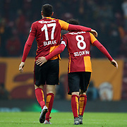 Galatasaray's Burak Yilmaz (L) during their Turkish Super League soccer match Galatasaray between Bursaspor at the AliSamiYen Spor Kompleksi TT Arena at Seyrantepe in Istanbul Turkey on friday, 04 December 2015. Photo by Kurtulus YILMAZ/TURKPIX