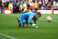 Crewe Alexandre Goalkeeper Ben Garratt spills the ball. Skybet football league one match, Crewe Alexandra v Port Vale at the Alexandra Stadium in Crewe on Saturday 13th Sept 2014.<br /> pic by Chris Stading, Andrew Orchard sports photography.