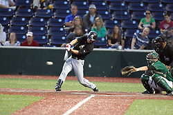 11 August 2012:  Curran Redal bats during a Frontier League Baseball game between the River City Rascals and the Normal CornBelters at Corn Crib Stadium on the campus of Heartland Community College in Normal Illinois.  The CornBelters take this game in 9 innings 7 - 2 with a 5 run 2nd inning.