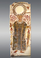 """5th century Eastern Roman Byzantine  funerary mosaic from Tarbaka in the Roman province of Africa Proconsularis , present day Tunisia, with a crown at the top probably a Christogram  (Latin Monogramma Christi ) is a monogram used as an abbreviation for the name of Jesus Christ, with a figure below and a latin text for the deceased """" Covuldeus in peace"""". Either side of the figure are a lit candle which symbolises eternal faith. The Bardo National Museum, Tunis Tunisia.   Against a grey background.<br /> <br /> Christian burial grounds The ingenuity and expertise of mosaic schools, particularly those operating in Proconsular Africa and By-zacena, led to the dissemination of a mosaic trend which was very well tailored to the needs of a Christian clientele, who was authorised by the Church to use the basilica area and its ancillaries for burial, particularly in the sacred spaces such as the baptistery and the choir."""