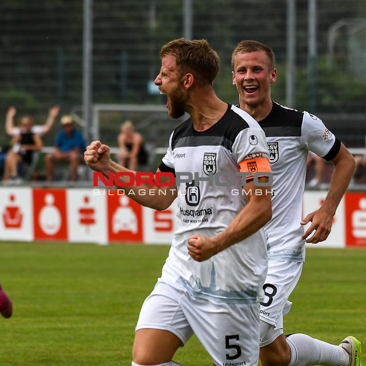 01.08.2020, C-Team Arena, Ravensburg, GER, WFV-Pokal, FV Ravensburg vs SSV Ulm 1846 Fussball, <br /> DFL REGULATIONS PROHIBIT ANY USE OF PHOTOGRAPHS AS IMAGE SEQUENCES AND/OR QUASI-VIDEO, <br /> im Bild Torjubel, Torschütze Johannes Reichert (Ulm, #5) und Adrian Beck (Ulm, #8)<br /> <br /> Foto © nordphoto / Hafner