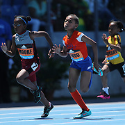 Brianna Lindo, (right), winning the 100m Women Fastest Kid in NYC race from Alana Moore who finished second in action at the Diamond League Adidas Grand Prix at Icahn Stadium, Randall's Island, Manhattan, New York, USA. 13th June 2015. Photo Tim Clayton