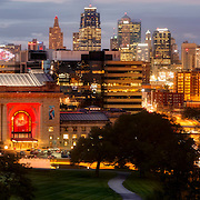 Kansas City Missouri skyline panorama photo at dusk, September 2016.