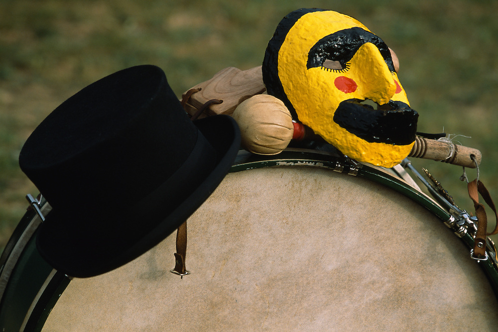 The mask and castanets of El Colacho, the devil incarnate, and the drum, tophat and drumstick of the drummer, both important figures at the celebration of the Fiesta del Colacho, in Castrillo de Murcia, Burgos province, Spain. The Fiesta del Colacho is held every year at the time of the Catholic feast Corpus Christi.
