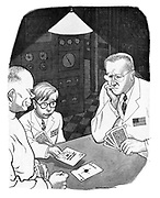 (Soviet, American and British scientists playing cards. The Soviet scentist has played the Sputnik card, Britain has played the H Power for Industry card and the American scientist cannot trump them)