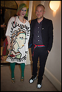 JULIE VERHOEVEN; RAPHAEL GYGAX, Frieze dinner  hosted at by Valeria Napoleone for  Marvin Gaye Chetwynd, Anne Collier and Studio Voltaire 20th anniversary autumn programme. Kensington. London. 14 October 2014.