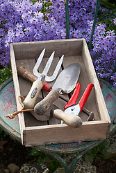 Hand tools in a wooden box