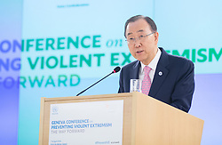 United Nations Secretary-General Ban Ki-moon delivers a speech during the Geneva Conference on Preventing Violent Extremism in Geneva, Switzerland, April 8, 2016. United Nations Secretary-General Ban Ki-moon said Friday that a paradigm shift is needed to address violent extremism affecting communities across the globe. EXPA Pictures © 2016, PhotoCredit: EXPA/ Photoshot/ Xu Jinquan<br /> <br /> *****ATTENTION - for AUT, SLO, CRO, SRB, BIH, MAZ, SUI only*****