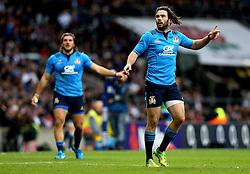 Luke McLean and Giovanbattista Venditti of Italy - Mandatory by-line: Robbie Stephenson/JMP - 26/02/2017 - RUGBY - Twickenham Stadium - London, England - England v Italy - RBS 6 Nations round three