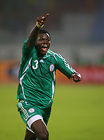 Ismaila Taiwo Taye Celebrates Scoring winning goal <br />Nigeria 2005/06<br />25th MTN Africa Cup Of Nations Egypt 2006<br />Nigeria v Ghana (1-0) 23/01/06<br />Photo Robin Parker Fotosports International