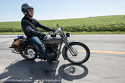 Paul Jung of Germany riding the 1915 Harley-Davidson entry from W and W Cycles of Wurzburg during the Motorcycle Cannonball Race of the Century. Stage-4 from Chillicothe, OH to Bloomington, IN. USA. Tuesday September 13, 2016. Photography ©2016 Michael Lichter.