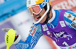 Winner MYHRER Andreof Sweden celebrates in finish area after he competed in 2nd Run of Men's Slalom - Pokal Vitranc 2012 of FIS Alpine Ski World Cup 2011/2012, on March 11, 2012 in Vitranc, Kranjska Gora, Slovenia.  (Photo By Vid Ponikvar / Sportida.com)