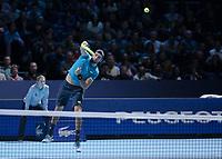 Tennis - 2019 Nitto ATP Finals at The O2 - Day One<br /> <br /> Singles Group Bjorn Borg: Novak Djokovic vs. Matteo Berrettini<br /> <br /> Matteo Berrettini (Italy) serving  <br /> <br /> COLORSPORT/DANIEL BEARHAM