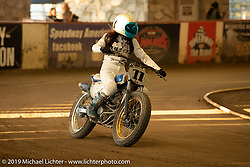 Kat Mitsuhiro of Kiyo's Garage in the Women's class at the Born-Free 10 Stampede flat track races in the City of Industry where classes ranged from pull start minis, Tank Shift, Vintage Singles & Open Twins, XR 75, ladies, Hooligans and more. Thursday night before the big chopper show June 21, 2018. Photography ©2018 Michael Lichter.