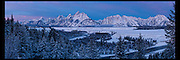 Panoramic Vista images in Grand Teton National Park, featuring the Grand and Mt. Moran. Sunrise or sunset panos of one of the world's premiere parks.