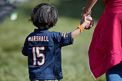 July 28, 2018 - Bourbonnais, IL, U.S. - BOURBONNAIS, IL - JULY 28: A young Chicago Bears fan is seen holding his mothers hand during the Chicago Bears training camp on July 28, 2018 at Olivet Nazarene University in Bourbonnais, Illinois. (Photo by Robin Alam/Icon Sportswire) (Credit Image: © Robin Alam/Icon SMI via ZUMA Press)