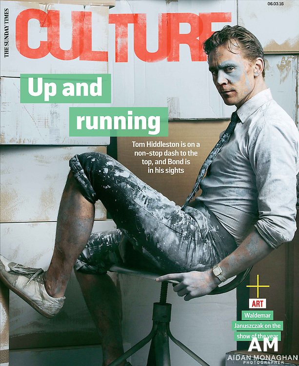 Tom Hiddleston Sunday Times Culture Magazine. Cover story Up and Running. <br /> Photography by Aidan Monaghan