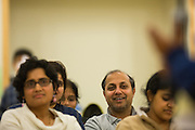 Parents cheer on their kids during the 2016 Milpitas Youth Spelling Bee at the Milpitas Senior Center in Milpitas, California, on January 22, 2016. (Stan Olszewski/SOSKIphoto)