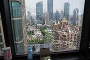 View across Shanghai through dirty window pane