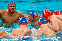 Bilal Gbadamassi, Jesse Nispeling, Eelco Wagenaar of the Netherlands in action against Montenegro during the Olympic qualifying tournament. The Dutch water polo players are on the hunt for a starting ticket for the Olympic Games on February 19, 2021 in Rotterdam