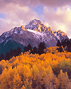 Mount Sneffels and Aspen at Sunset, Uncompahgre National Forest, Colorado