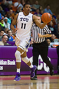 FORT WORTH, TX - JANUARY 19: Brandon Parrish #11 of the TCU Horned Frogs brings the ball up court against the Texas Longhorns on January 19, 2015 at Wilkerson-Greines AC in Fort Worth, Texas.  (Photo by Cooper Neill/Getty Images) *** Local Caption *** Brandon Parrish