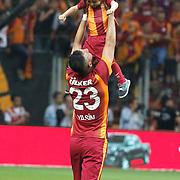 Galatasaray's Yasin Oztekin celebrate victory during their Turkish Super League derby match Galatasaray between Besiktas at the AliSamiYen Spor Kompleksi TT Arena at Seyrantepe in Istanbul Turkey on Sunday, 24 May 2015. Photo by Aykut AKICI/TURKPIX