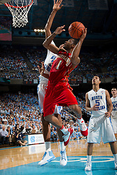 CHAPEL HILL, NC - FEBRUARY 27: Adrian Bowie #1 of the Maryland Terrapins drives past John Henson #31 of the North Carolina Tar Heels on February 27, 2011 at the Dean E. Smith Center in Chapel Hill, North Carolina. North Carolina won 76-87. (Photo by Peyton Williams/UNC/Getty Images) *** Local Caption *** Adrian Bowie;John Henson