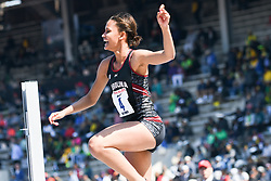 April 28, 2018 - Philadelphia, Pennsylvania, U.S - LISSA LABICHE (4) of the University of South Carolina reacts as she clears the bar and wins the CW high jump championship at the 124th running of the Penn Relays in Philadelphia Pennsylvania (Credit Image: © Ricky Fitchett via ZUMA Wire)