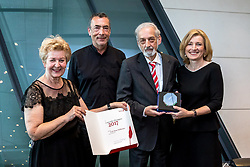 03.05.2018, Sky Conference Saal, Wien, AUT, Concordia Medienpreise 2017, im Bild v.l. Generalsekretärin Dr. Astrid ZImmermann (Concordia), Hubert von Goisern, Vorstandsmitglied Prof. Heinz Nußbaumer (Concordia) und Vizepräsidentin Dr. Martina Salomon (Concordia) bei der Verleihung des Ehrenpreises für das Lebenswerk von Prof. Heinz Nußbaumer // during the award ceremony of the Concordia media prices 2017 at the Sky Conference Saal in Wien, Austria on 2018/05/03. EXPA Pictures © 2018, PhotoCredit: EXPA/ Sebastian Pucher