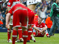 Photo: Chris Ratcliffe.<br /> Middlesbrough v West Ham United. The FA Cup, Semi-Final. 23/04/2006.<br /> Franck Queudrue of Boro is gutted