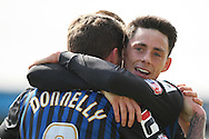 George Donnelly of Rochdale celebrates scoring his side's first goal with Ian Henderson. Skybet football league two match, Newport county v Rochdale at Rodney Parade in Newport, South Wales on Saturday 3rd May 2014.<br /> pic by Mark Hawkins, Andrew Orchard sports photography.