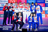 Team Russia Gold Medal<br /> Team Great Britain Silver Medal<br /> Team France Bronze Medal<br /> 4x50 freestyle relay mixed Final<br /> Glasgow 07/12/2019<br /> XX LEN European Short Course Swimming Championships 2019<br /> Tollcross International Swimming Centre<br /> Photo  Giorgio Scala / Deepbluemedia / Insidefoto