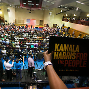 COLUMBIA SC - FEBRUARY 16: Supporters hold signs as California Senator Kamala Harris speaks at a town hall inside The Brookland Health and Wellness Center in Columbia, SC on February 16, 2019. (Logan Cyrus for The Los Angeles Times)