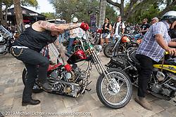 Telly on his Shovelhead at Warren Lane's True Grit Antique Gathering bike show at the Broken Spoke Saloon in Ormond Beach during Daytona Beach Bike Week, FL. USA. Sunday, March 10, 2019. Photography ©2019 Michael Lichter.