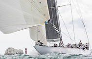 """Image licensed to Lloyd Images <br /> The Royal Yacht Squadron Bicentenary Regatta . Pictures of the classic """"J Class"""" yacht Ranger, shown here racing around the Isle of Wight and passing the Needles as part of the 200th anniversary sailing week.<br /> Credit: Lloyd Images"""